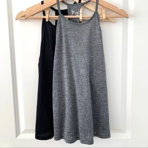 Old Navy Active Black and Gray High Neck Tank Tops